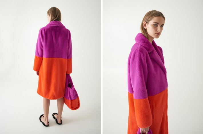 STAND Official Maribel Coat Lilac/Acid Red